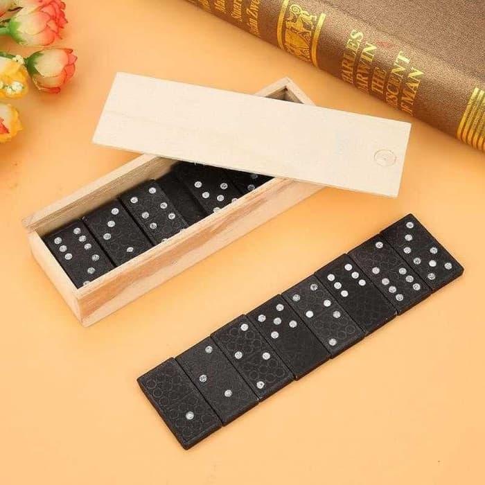 Mainan Kartu domino Kayu Gaple Wood Box Domino Game Board ...