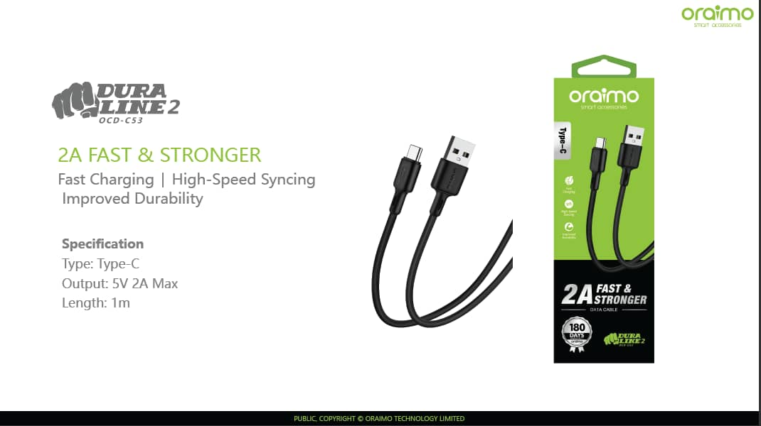 ORAIMO CABLE TIPE C OCD-M53 MDURA LINE 2A | A1 Accessories